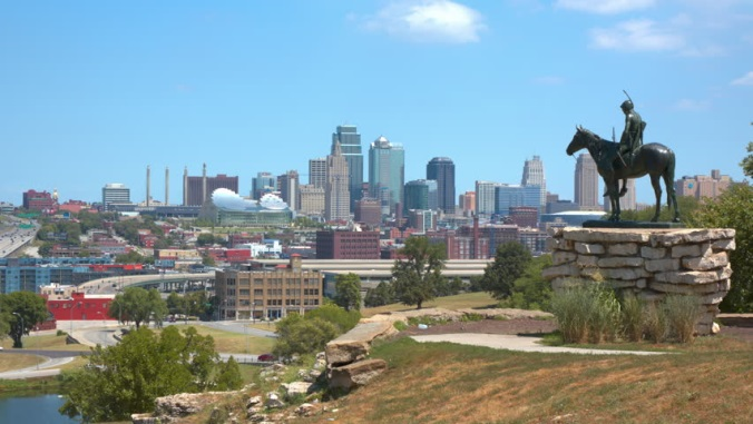 Kansas City skyline overlooked by Scout